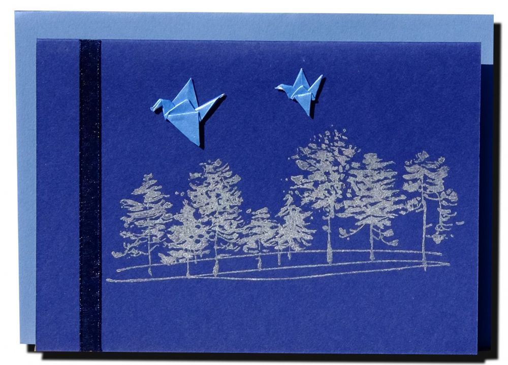Greetings card Handmade  Winter Forest with blue cranes